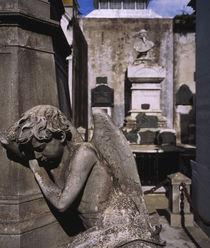 Close-up of an angel statue in a cemetery von Panoramic Images