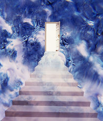 Open door floating in smoky sky with stairway von Panoramic Images