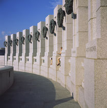 Columns at a war memorial, National World War II Memorial, Washington DC, USA