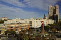 High angle view of buildings in a city, San Antonio, Texas, USA von Panoramic Images
