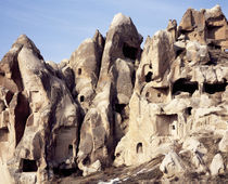 Cliff dwellings, Uchisar Castle, Uchisar, Goreme, Cappadocia, Turkey von Panoramic Images