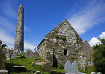 Round Tower and Cathedral in St Declan's 5th Century Monastic Site by Panoramic Images