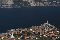 Aerial view of a town and Castello Scaligero viewed from Monte Baldo von Panoramic Images
