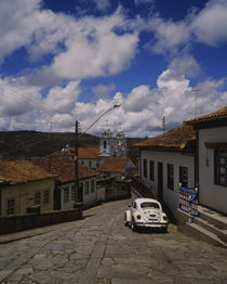 Houses along a cobblestone street, Diamantina, Minas Gerais, Brazil von Panoramic Images