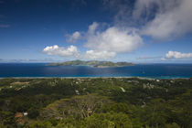 Island view of La Passe from Nid d' Aigle Peak, La Digue Island, Seychelles by Panoramic Images