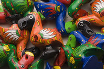 High angle view of wooden Dodo bird toys, Port Louis, Mauritius von Panoramic Images