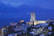 High angle view of buildings on a lakeside, Lake Geneva, Montreux, Switzerland by Panoramic Images