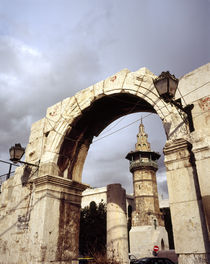 Arch with a mosque in the background, Damascus, Syria by Panoramic Images