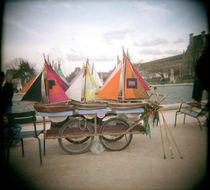 Miniature sailboats on a cart for sale von Panoramic Images