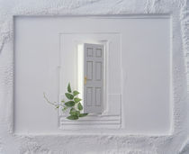 Open white door with vine in floating plaster wall by Panoramic Images