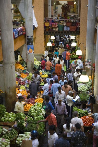 People shopping in a vegetable market central market port louis mauritius picture art - Mauritius market port louis ...