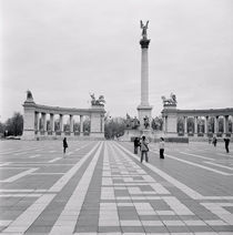 Tourists at a town square, Hero's Square, Budapest, Hungary by Panoramic Images