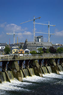 Salmon Leap Weir, and Cranes, Athlone, County Roscommon, Ireland by Panoramic Images