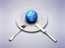 Small globe sitting on white plate with knife and fork by Panoramic Images