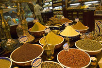 Assorted spices at a market stall, Istanbul, Turkey