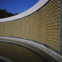 Reflection of wall of a monument in water von Panoramic Images
