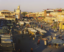 High angle view of a group of people in a market, Marrakesh, Morocco by Panoramic Images