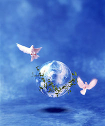 Two doves fly around clear globe hovering in blue space with clouds von Panoramic Images