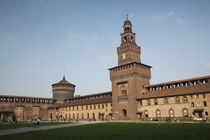 Facade of a castle, Castello Sforzesco, Milan, Lombardy, Italy von Panoramic Images