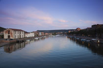 Houses on the riverbank, Sas Conzas, Temo River, Bosa, Oristano, Sardinia, Italy by Panoramic Images