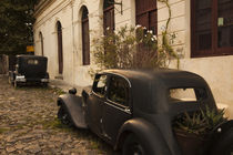 Vintage cars parked in front of a house von Panoramic Images