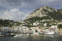 Boats moored at a port, Capri, Naples, Campania, Italy von Panoramic Images