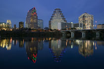 Reflection of buildings in water, Town Lake, Austin, Texas, USA by Panoramic Images