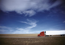Truck on the road, Interstate 80, Albany County, Wyoming, USA by Panoramic Images
