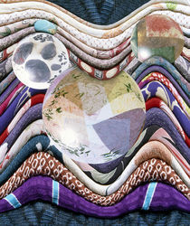 Three crystal balls lying on folded fabric von Panoramic Images