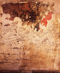 Graffiti and fire damage on the wall of a mosque, Syria by Panoramic Images