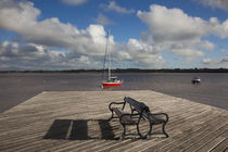 Bench on a jetty, Colonia Del Sacramento, Uruguay by Panoramic Images
