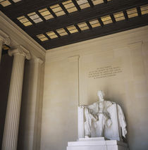 Low angle view of the statue of Abraham Lincoln by Panoramic Images