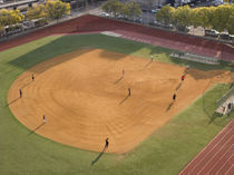 High angle view of a baseball diamond, New York City, New York State, USA von Panoramic Images