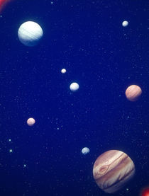 Conceptualized solar system with planets, Jupiter in foreground by Panoramic Images