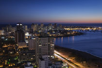 Buildings lit up at dusk, Punta Del Este, Maldonado, Uruguay von Panoramic Images