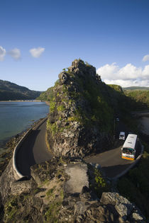 High angle view of vehicles on a coastal road von Panoramic Images