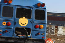 Blue Smiley Bus by ushkaphotography