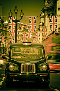 London. Regent Street. Taxi and Royal Wedding Flags. by Alan Copson