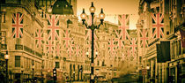 UK. London. Regent Street. Union Jack decorations for Royal Wedding. von Alan Copson