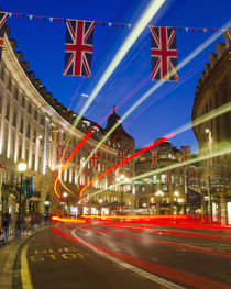 UK. London. Regent Street. Union Jack decorations for Royal Wedding. by Alan Copson