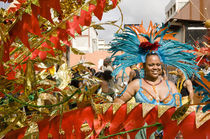 Woman in a turquoise feathered costume in the Port of Spain carnival in Trinidad. von Tom Hanslien