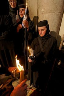 The Ceremony of the Holy Light at the Church of the Holy Sepulchre by Hanan Isachar
