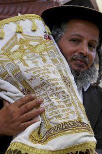 Hasid with the Torah scrolls by Hanan Isachar