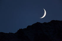 Sliver of Moon over the Mountains by Lee Rentz