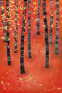 Birches Autumn Woodland Landscape von Nic Squirrell
