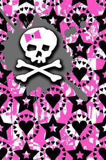 Pink Bow Skull by Roseanne Jones