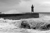 Stormy sea with lighthouse by Tiago  Reis