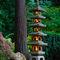 Pagoda-lantern-lit-in-garden