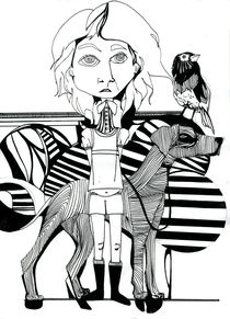 Mädchen, Hund und Vogel by Eva Vasari