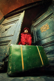 Girl at door by David Fiscaleanu
